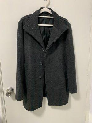 日本MUJI無印良品男仕保暖深灰風衣外套