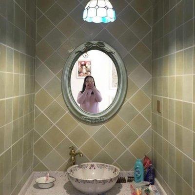 浴室鏡子 免打孔歐式復古橢圓衛生間衛浴浴室鏡  美式裝飾梳妝壁掛鏡子