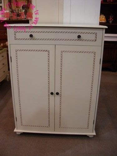美生活館--新品上市--英式古典復古白單抽雙門鞋櫃/收納櫃