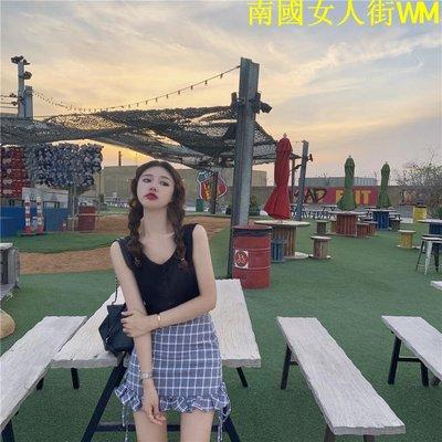南國女人街WM洋氣套裝裙女黑色背心+格子半身裙短裙時尚兩件套2019夏季新款