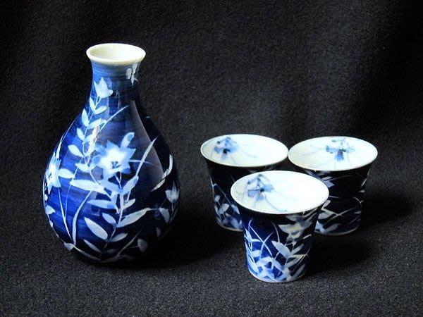 酒器青花瓷燒酒壺杯組日本古瓷器日本民藝日本工藝品【心生活美學】