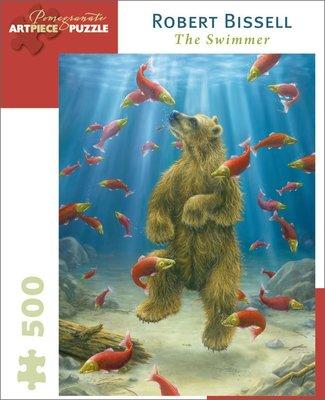 B區特價選購(需再加A區1款).美國拼圖 POM‧ROBERT BISSELL 熊 游泳‧500片拼圖,aa788