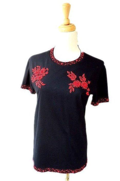 *Beauty*PRADA紅綴珠黑色短袖棉T恤XS號 10000 元WE17
