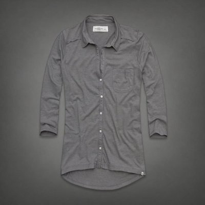 【天普小棧】A&F Abercrombie Tatum Knit Shirt easy fit七分袖素面襯衫灰色S號