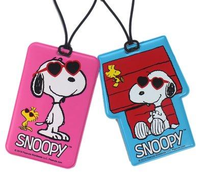 【卡漫迷】 Snoopy 行李吊牌 墨鏡 二選一 ㊣版 名牌套 史努比史奴比 行李箱 書包背包 姓名 識別掛牌 糊塗塔克