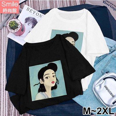 【V2803】SMILE-休閒隨感.女孩印花圓領寬鬆短袖上衣