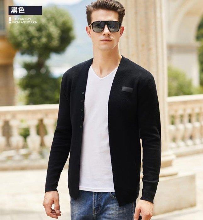 秋季新款針織開衫男毛衣薄款休閒純色修身外套男青少年外穿線衣潮