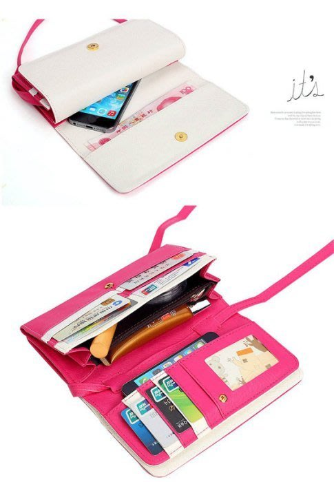 甜美撞色 搭扣雙蓋飛鳥長款錢包 手機包 護照.證件夾 皮夾. 金屬鴿子撞色 斜挎包 手機包
