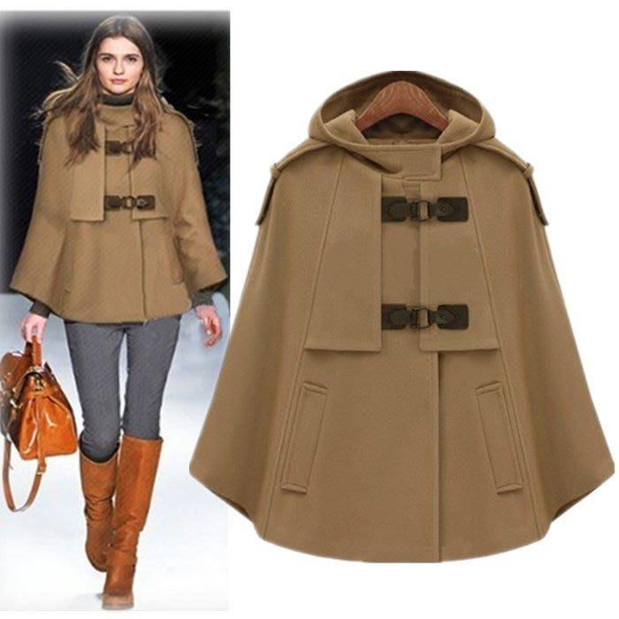 個性設計款披肩短大衣 軍裝斗篷連帽毛呢外套 艾爾莎【TAE8607】