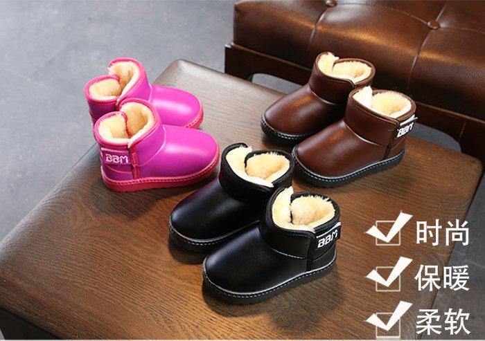 東大門平價鋪 .  新款兒童雪地靴男童短靴子,冬季女童防水棉鞋,寶寶加絨保暖棉靴