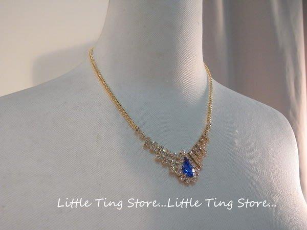 Little Ting Store: 韓國婚禮晚宴母親節禮物 水滴藍寶色水晶鑽V型鏈帶頸鍊鎖骨鏈短項鍊