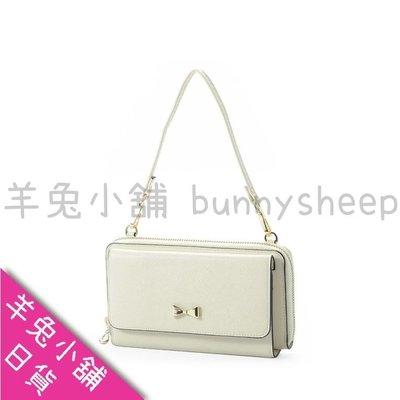 【白色】【日本cache cache三用3way蝴蝶結長夾包】羊兔小舖 日貨 皮夾 皮包 斜背包 護照包 護照夾