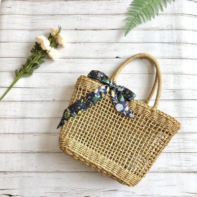 西風的話ins草編包夏天文藝編織女包菜籃子手提包方形鏤空沙灘包
