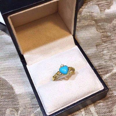 【綠松石戒指】天然綠松石戒指 高瓷波斯藍 桃心皇冠款
