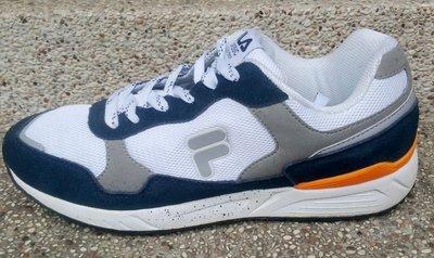 *鞋率*FILA 男款復古超纖鞋面高耐磨慢跑鞋系列-藍白 編BK63