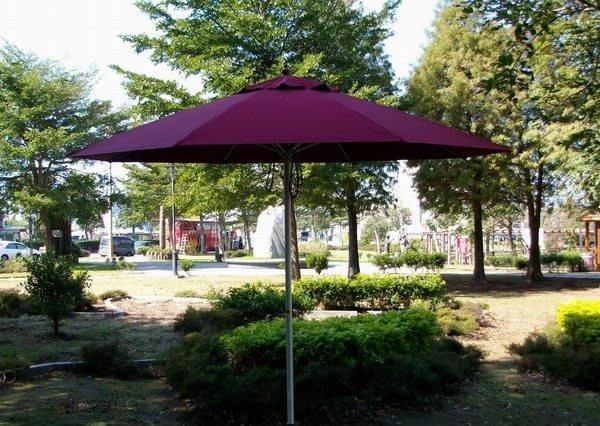 [兄弟牌戶外休閒傢俱]9尺玻璃纖維骨+鐵管烤漆防水遮陽傘(酒紅色270CM )~抗風力強休閒庭園桌椅