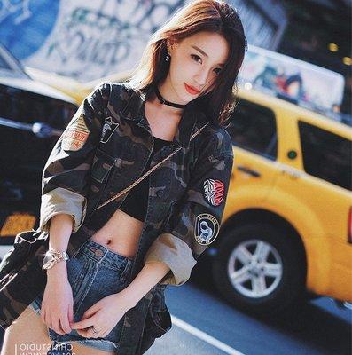 春裝迷彩牛仔外套女長袖刺繡口袋貼章韓版寬鬆中長款bf牛仔衫    全館免運