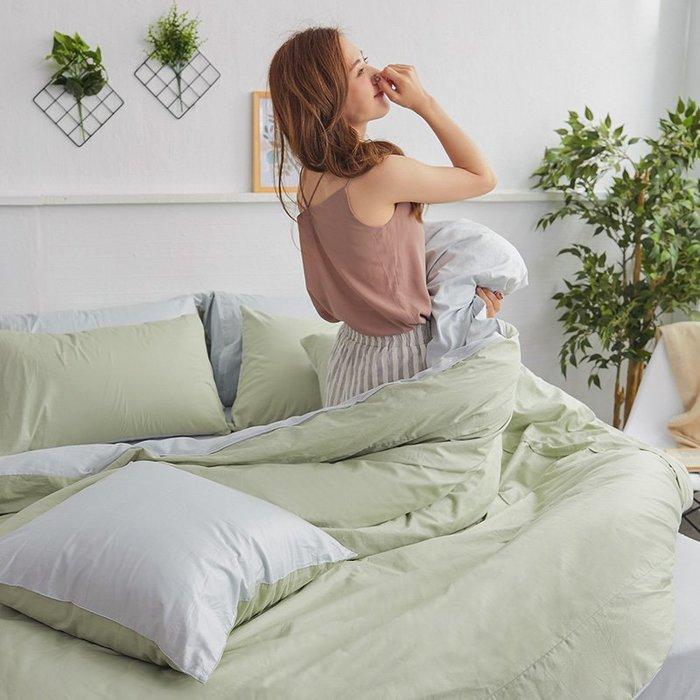 床包兩用被組 / 雙人【撞色系列-清新綠】含兩件枕套  100%精梳棉  戀家台灣製AAA215