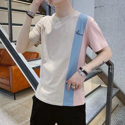 時尚男裝男裝2019年春夏新款純棉男士短袖t恤男圓領半袖韓版上衣三色拼接