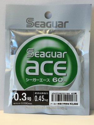 [SEAGUAR 碳纖線]-ace 碳纖線 0.3號 60m -子線.卡夢線.碳素線 [魚彩釣具] 台中市