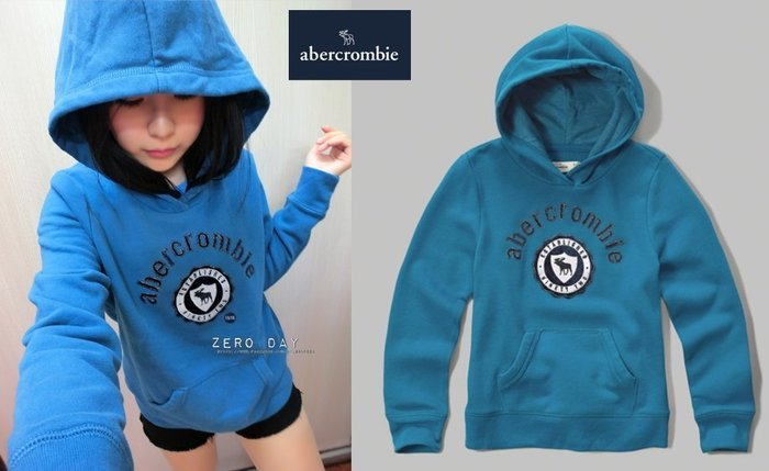 a&f abercrombie&fitch applique logo pullover hoodie麋鹿徽章連帽T水藍