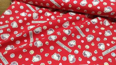 豬豬日本拼布 限量版權卡通布 三麗鷗Hello Kitty 凱蒂貓 冰淇淋 紅色款 牛津布厚棉布料材質