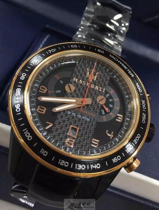 請支持正貨,瑪莎拉蒂手錶MASERATI手錶CORSA款,編號:MA00129,黑色錶面黑色精鋼錶鍊錶帶款