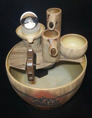 【星辰陶藝】(有燈,元寶球)木桶水車,...