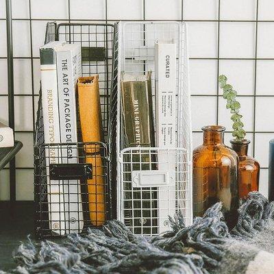北歐風鐵藝桌面收納籃居家籃子收納筐辦公雜貨儲物書籍書架精品生活