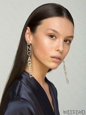 【WEEKEND】BIJOUX DE FAMILLE ENGAGED 訂婚 文字 大尺寸 一對 耳環