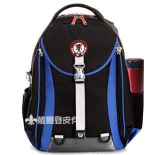 【葳爾登】㊣UNME小學生書包人體工學透氣背包電腦多夾層大容量超輕護脊書包3210藍色.