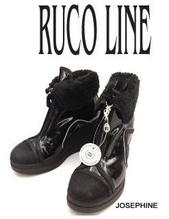 喬瑟芬【RUCO LINE】賠售清倉$10900~2012秋冬黑色麂皮+漆皮雙拼材質 羔羊毛內裡 楔型 短靴
