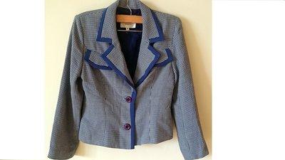 BOSCH專櫃品牌藍色格子千鳥紋前假口袋修身顯瘦時尚西裝外套夾克風衣OL氣質百搭