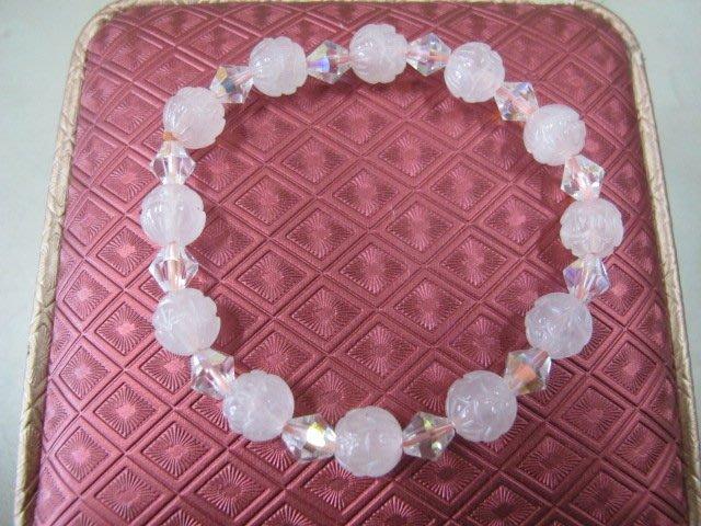 二手舖 NO.255 天然粉水晶 手鍊 手排 串珠