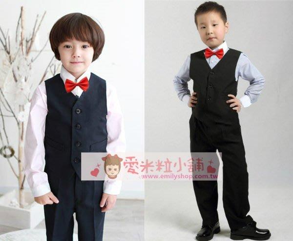 兒童西裝四件組 男花童背心 男童長袖襯衫 黑色西裝長褲 紅領結 ☆愛米粒☆ B17