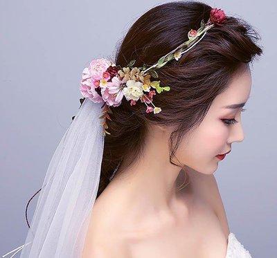 哆啦本鋪  花環仙女發帶手工花朵頭紗韓式新娘頭飾海邊度假拍照寫真發箍發飾D655