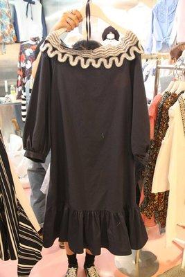 ♥出清 可純超取♥ 名品風格氣質藍黑色波浪紋露肩綁帶長洋裝(藍黑色現貨一)。正韓