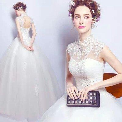 天使佳人婚紗禮服旗袍~~復古立領蕾絲透視婚紗