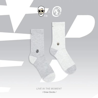 【A-KAY0】H2O.LAB X V.B. X MISS HAIR Q CREW SOCKS 灰【19SP01-GY】