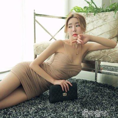 夏季吊帶性感低胸夜店女裝緊身網紗氣質洋裝包臀超短裙