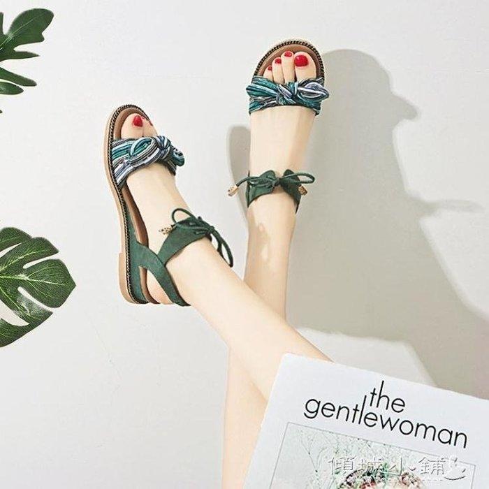 波希米亞涼鞋 波西米亞涼鞋女平底韓版蝴蝶結學生坡跟羅馬鞋