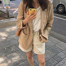 一粒釦薄外套 超好搭好看棉麻西裝外套 艾爾莎【TGK7835】
