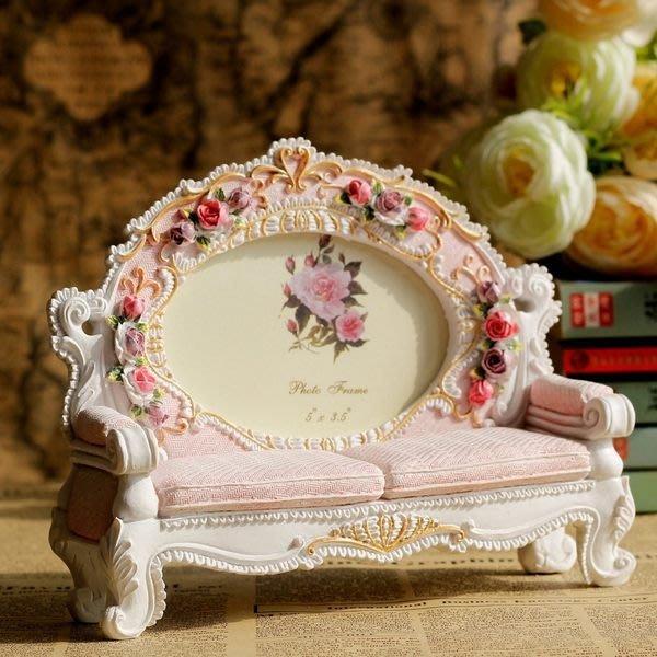 【愛麗絲生活家飾雜貨】zakka日系兩人座沙發造型粉色波麗5吋相框/居家擺飾