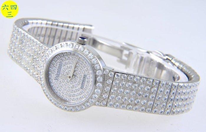 (六四三精品)范侖鐵諾(真品)圓型最高檔爪鑲鑽錶(圓型)藍寶石水晶鏡面(硬度九度)(女)