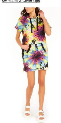 DKNY Cotton Tie-Dye Hooded Cover-Up Dress5/2止