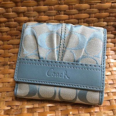 Coach cotton Leather blue short wallet (98%new 100%real)