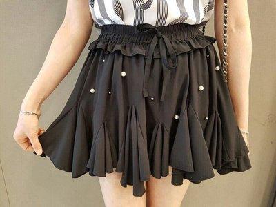 露露小妞 韓國東大門代購 黑色釘珠造型裙