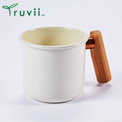 丹大戶外【Truvii】木柄琺瑯杯 250ml-月光白