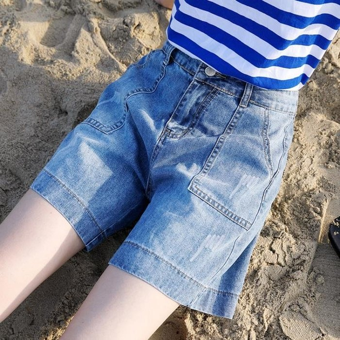 618牛仔五分褲女夏寬鬆單色系