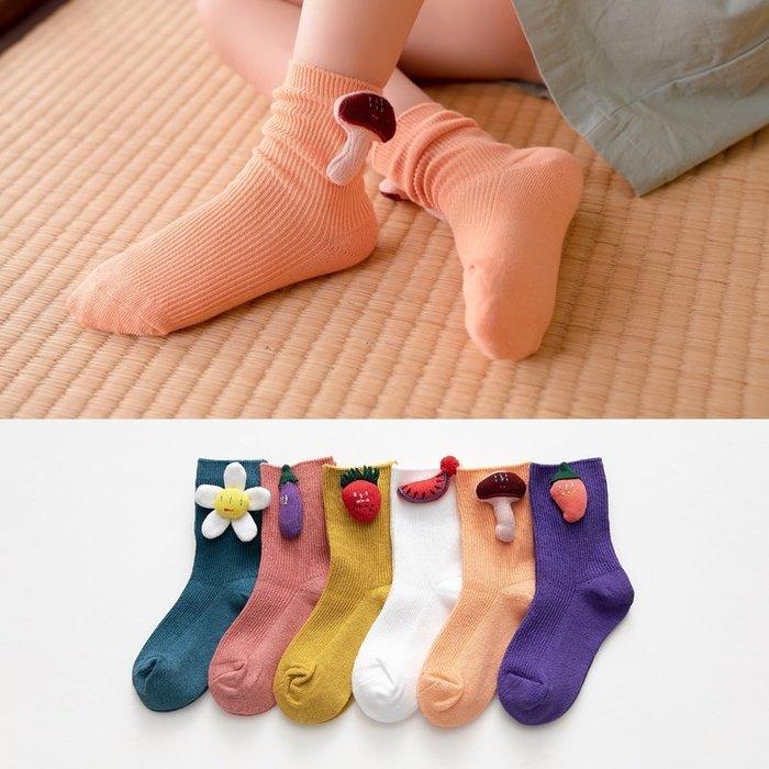 【小阿霏】兒童秋冬短襪 可愛立體小工仔純色豎條棉襪 女童男童個性潮襪子PA369